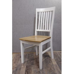 2 Esszimmerstühle aus Eiche Massivholz weiss lackiert - Classico 1
