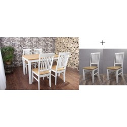 Esszimmergruppe Modena - Tisch aus Eiche + 6 Stühle aus Eiche natur-weiss