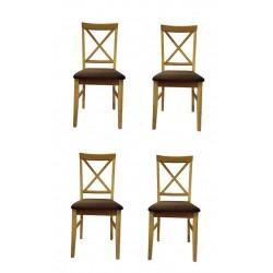 2 Esszimmerstühle aus Eiche Massivholz mit Sitzbezug - Classico X